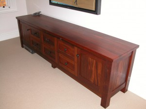 Recycled Jarrah Entertainment TV Sterio unit low line