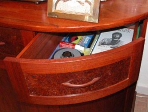 handcrafted curved Jarrah drawer burl inlay