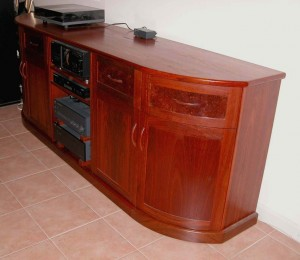 Handcrafted Jarrah Buffet curved doors burl inlay