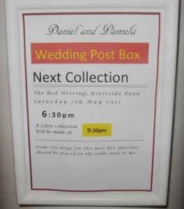 Wedding Post Box Display Area