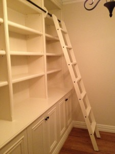 White Painted Library with a ladder