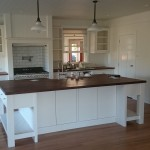 Painted kitchen with a solid timber bench