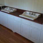 Cottage style white painted vanity