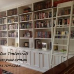 White painted bookcase with a rolling ladder - Copy
